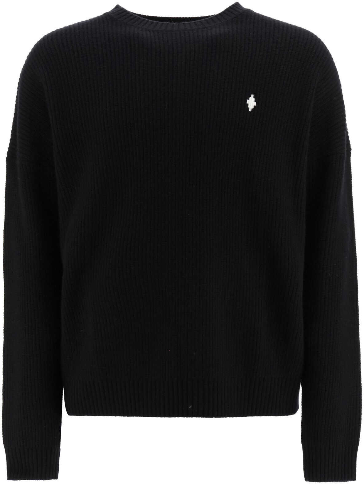 Marcelo Burlon Sweater With Mbcm Patch BLACK WHITE imagine
