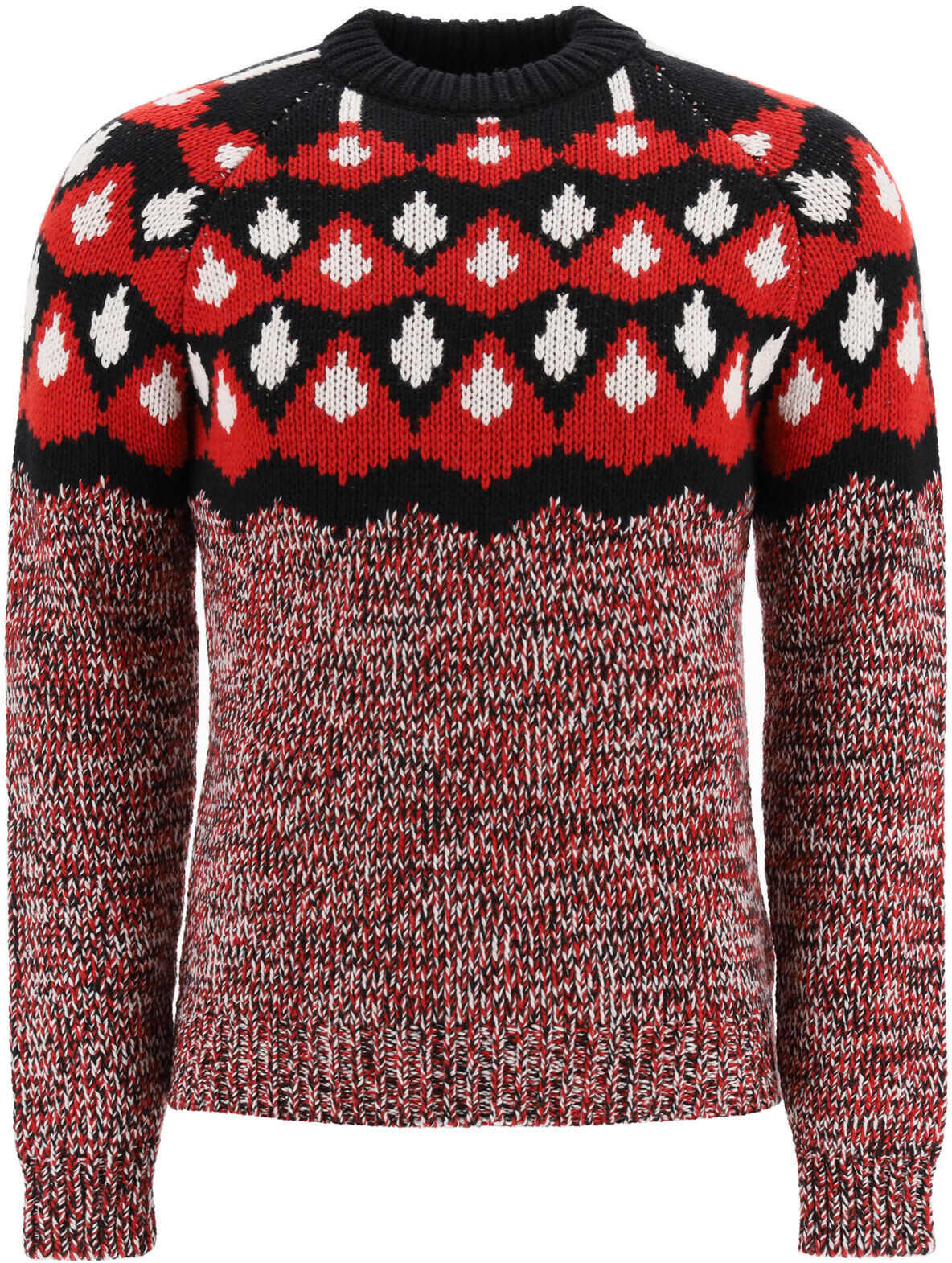Prada Jacquard Sweater F3 NERO ROSSO imagine