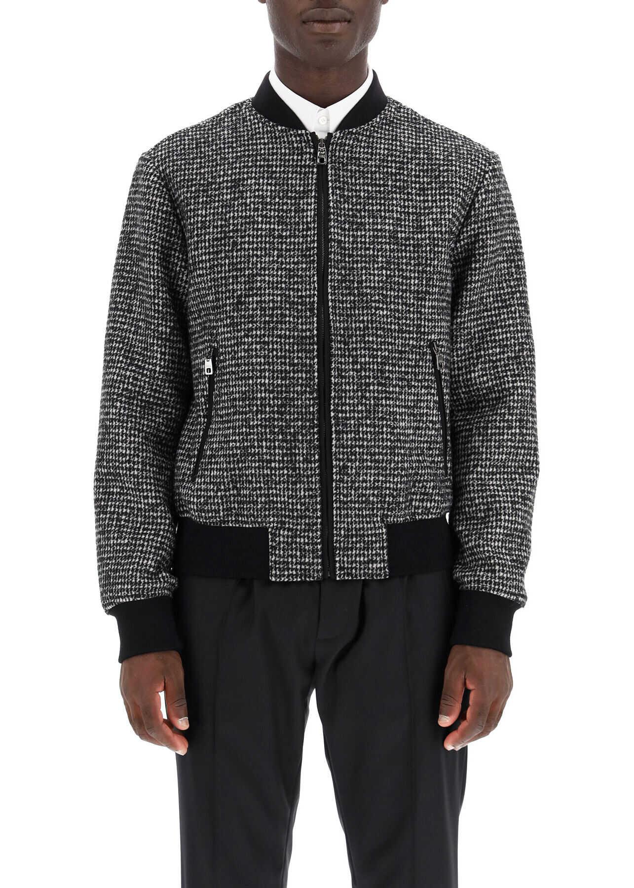 Dolce & Gabbana Micro Houndstooth Bomber Jacket FANTASIA NON STAMPA imagine