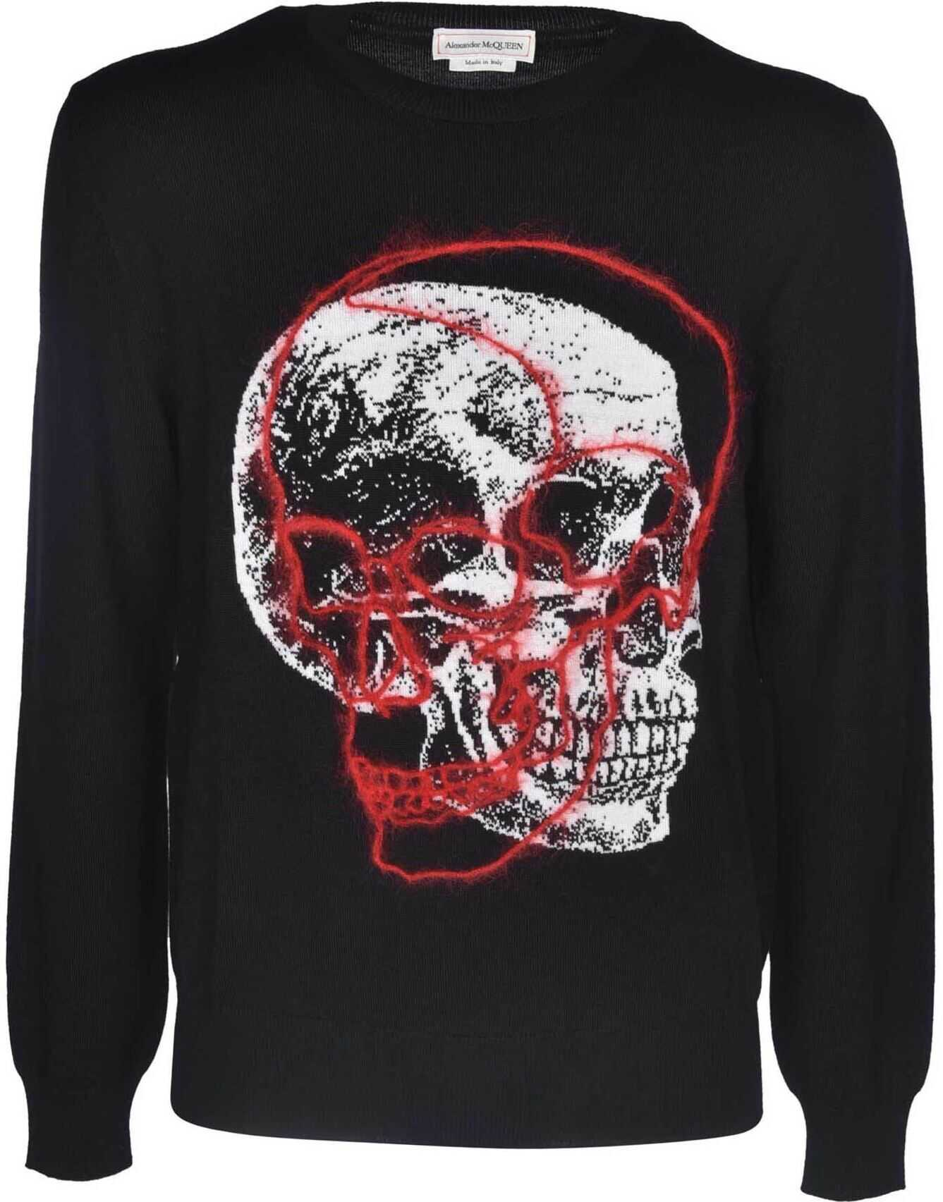 Alexander McQueen Overlapping Skull Pullover In Black Ivory And Red Black imagine