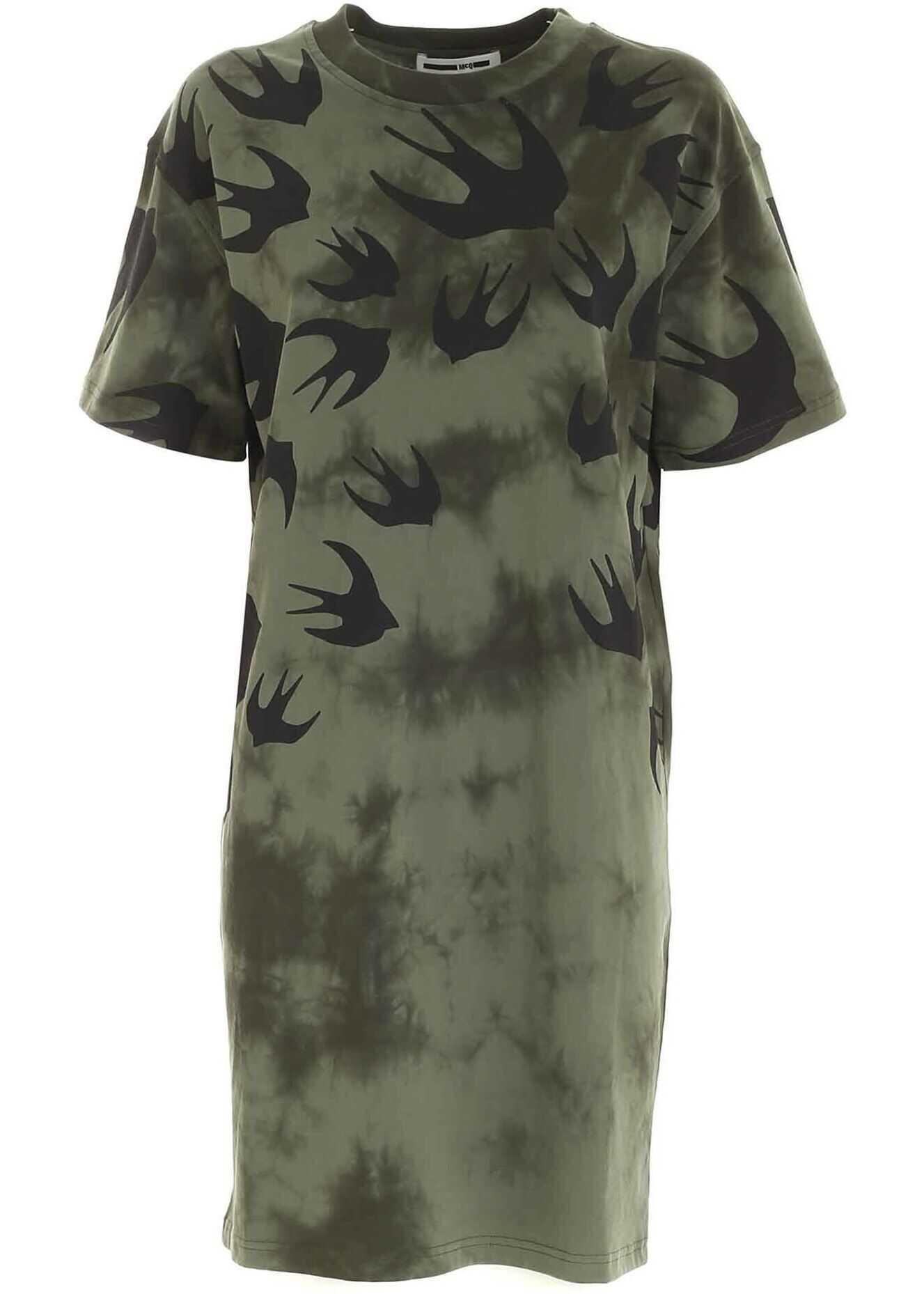 MCQ Alexander McQueen Swallow Print Tie-Dye Dress In Green Green