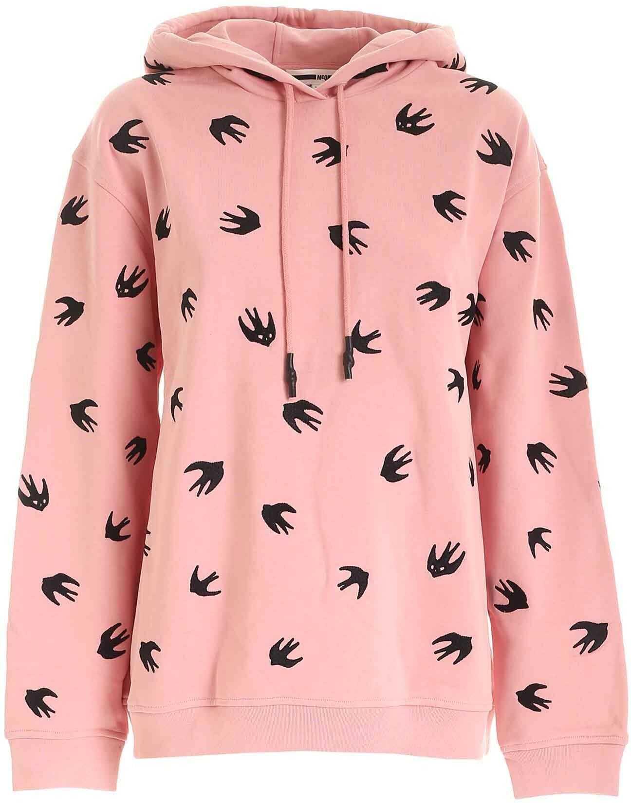 MCQ Alexander McQueen Swallow Embroidery Sweatshirt In Pink Pink