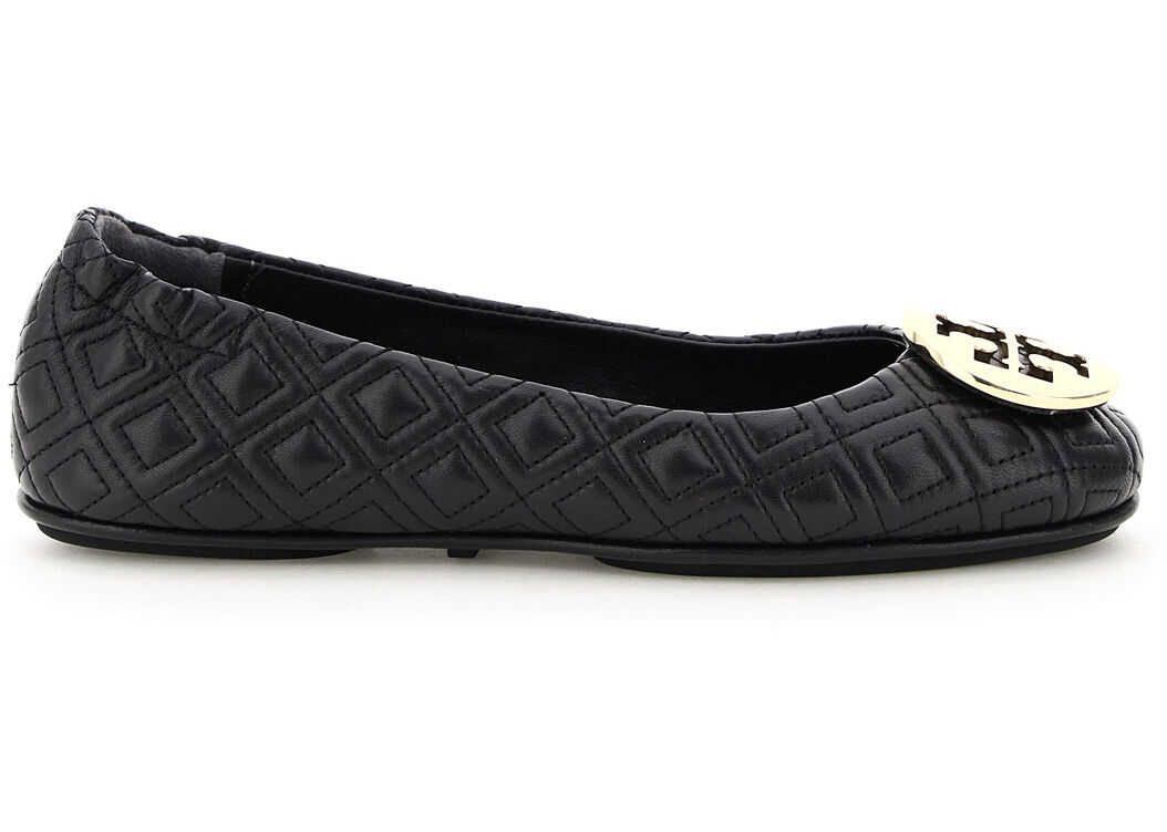 Tory Burch Quilted Minnie Ballerinas 50736 PERFECT BLACK GOLD imagine b-mall.ro