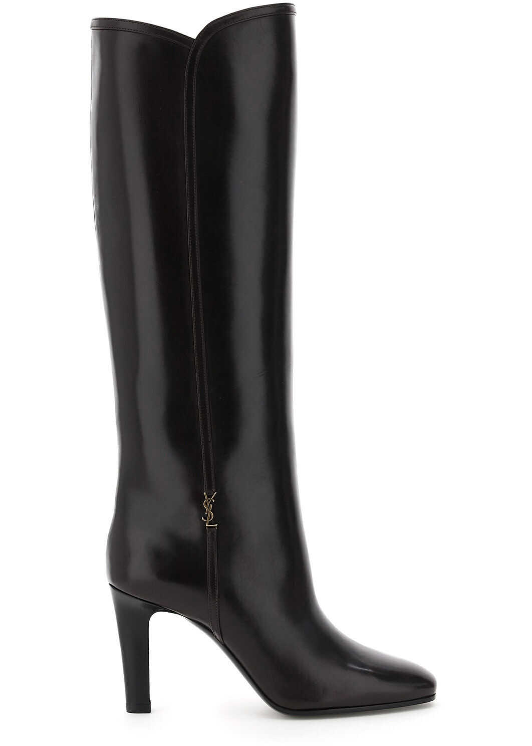 Saint Laurent Jane Leather Boots 632636 1YU00 MOCACCINO imagine b-mall.ro