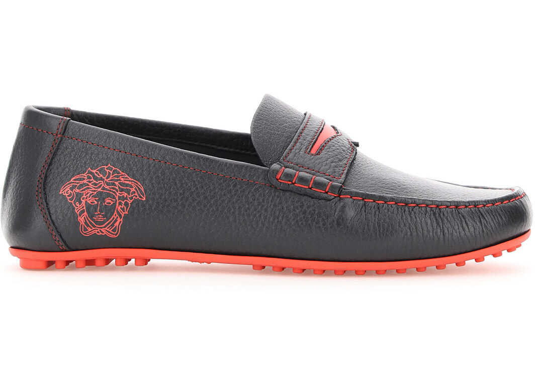 Versace Medusa Driver Loafers DSU8211 DVSC4G NERO PALIAH imagine b-mall.ro