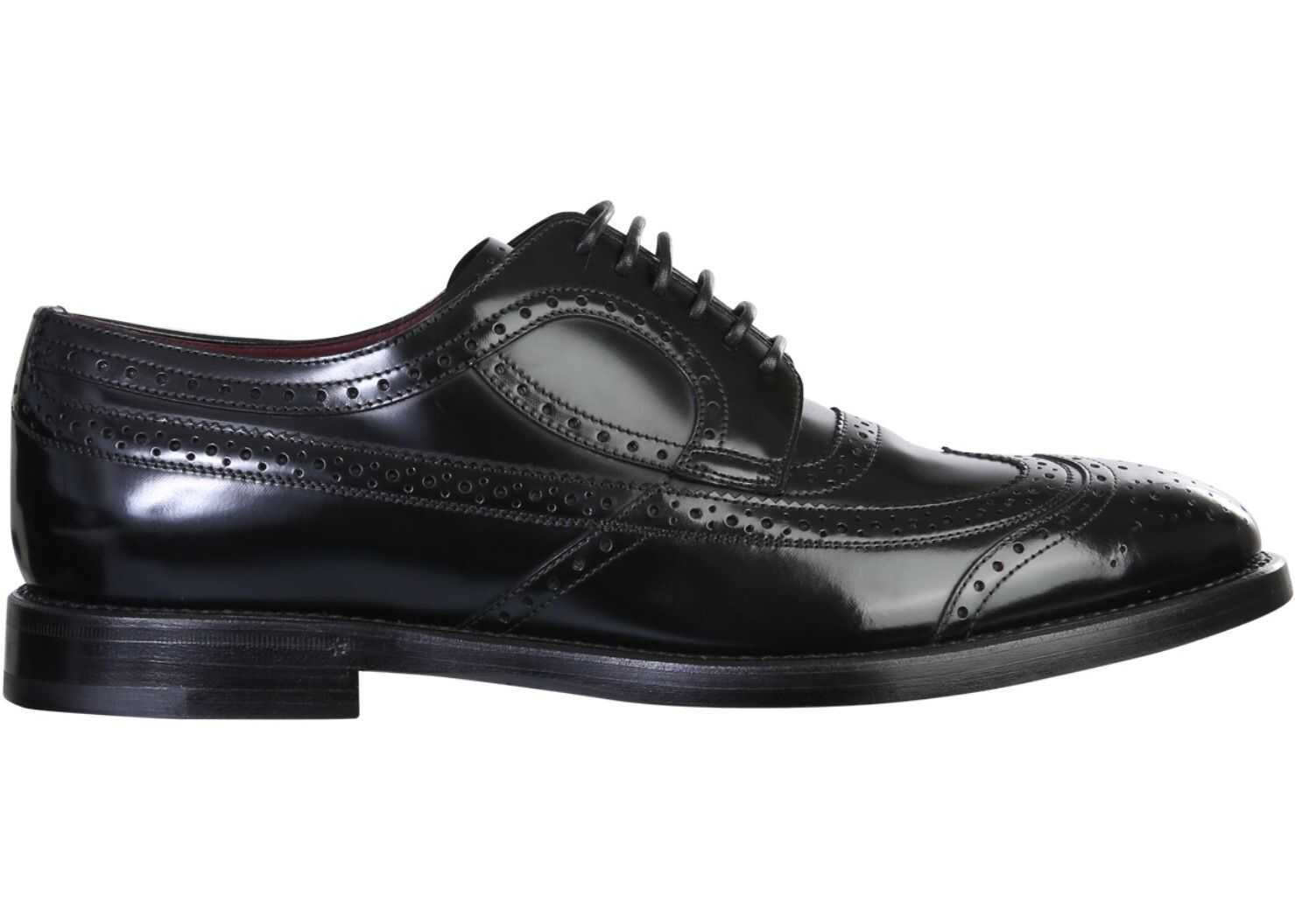 Dolce & Gabbana Derby Brogue Shoes A20137_A120380999 BLACK imagine b-mall.ro