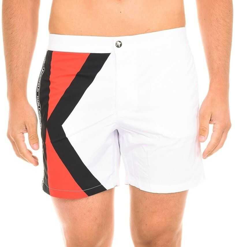 Karl Lagerfeld Logo Swimshorts KL19MBM02-WHITE White imagine