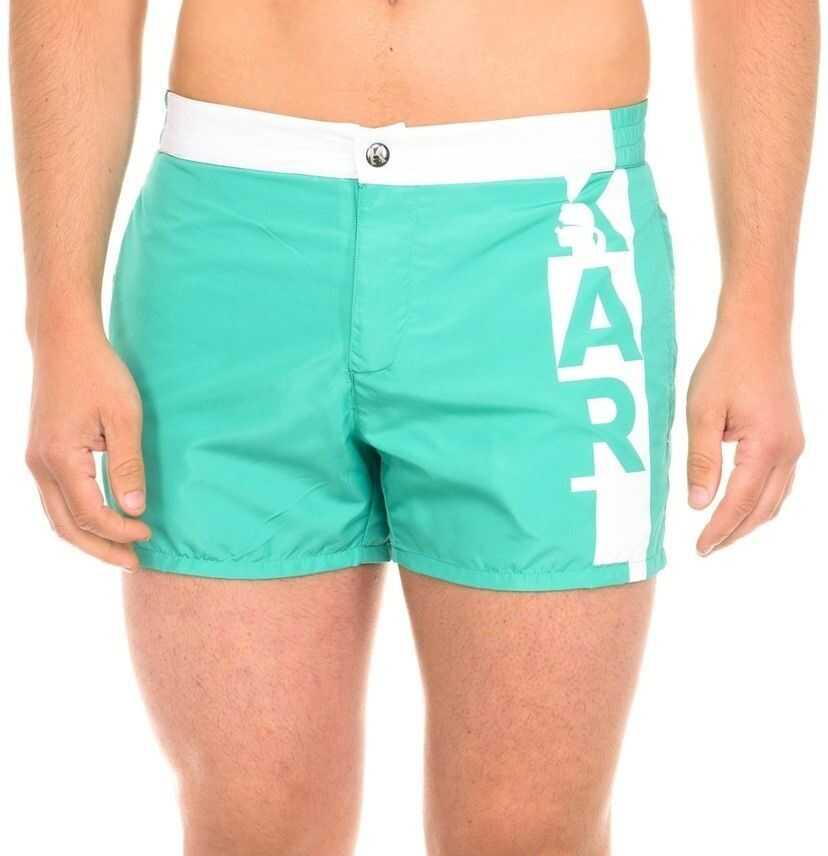 Karl Lagerfeld Swimshorts Vertical Logo KL19MBS02 Green imagine