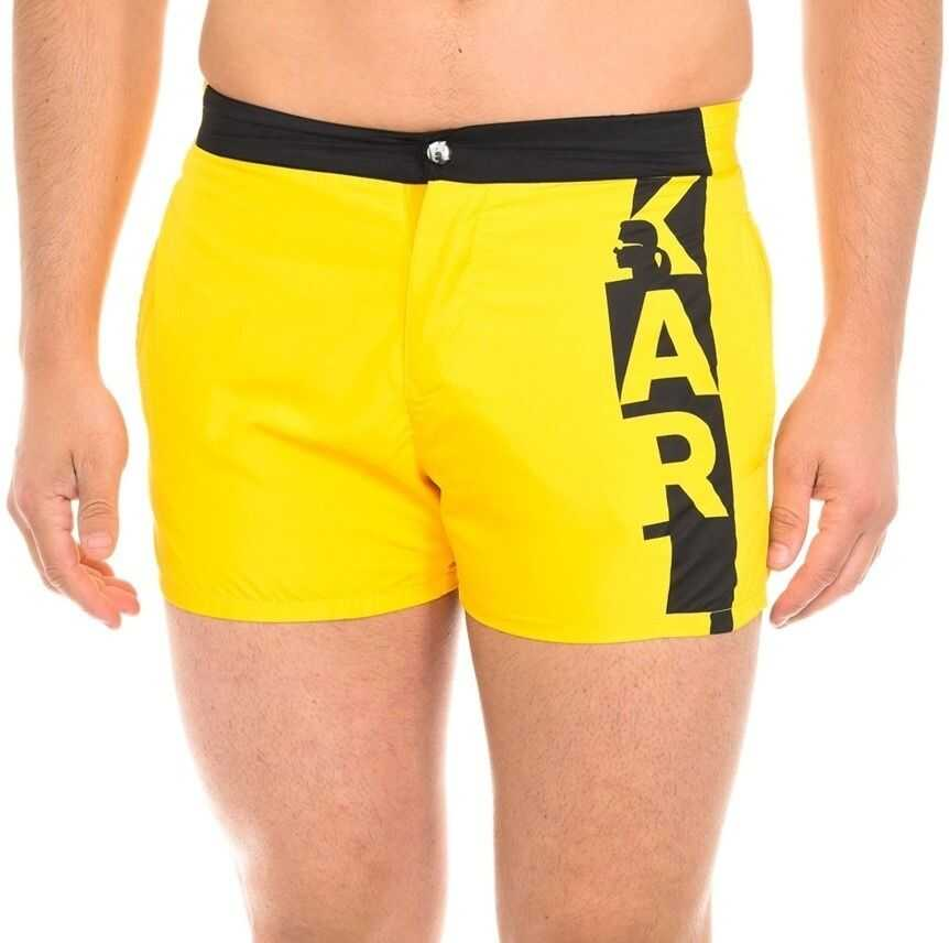 Karl Lagerfeld Swimshorts Vertical Logo KL19MBS02 Yellow imagine