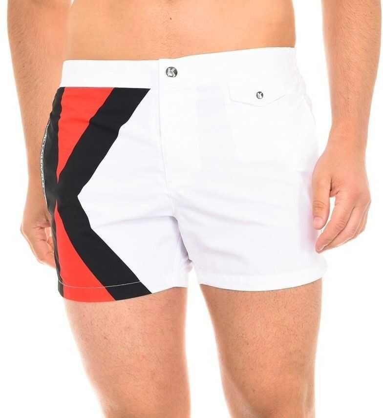 Karl Lagerfeld Logo Swimshorts KL19MBS04 White imagine
