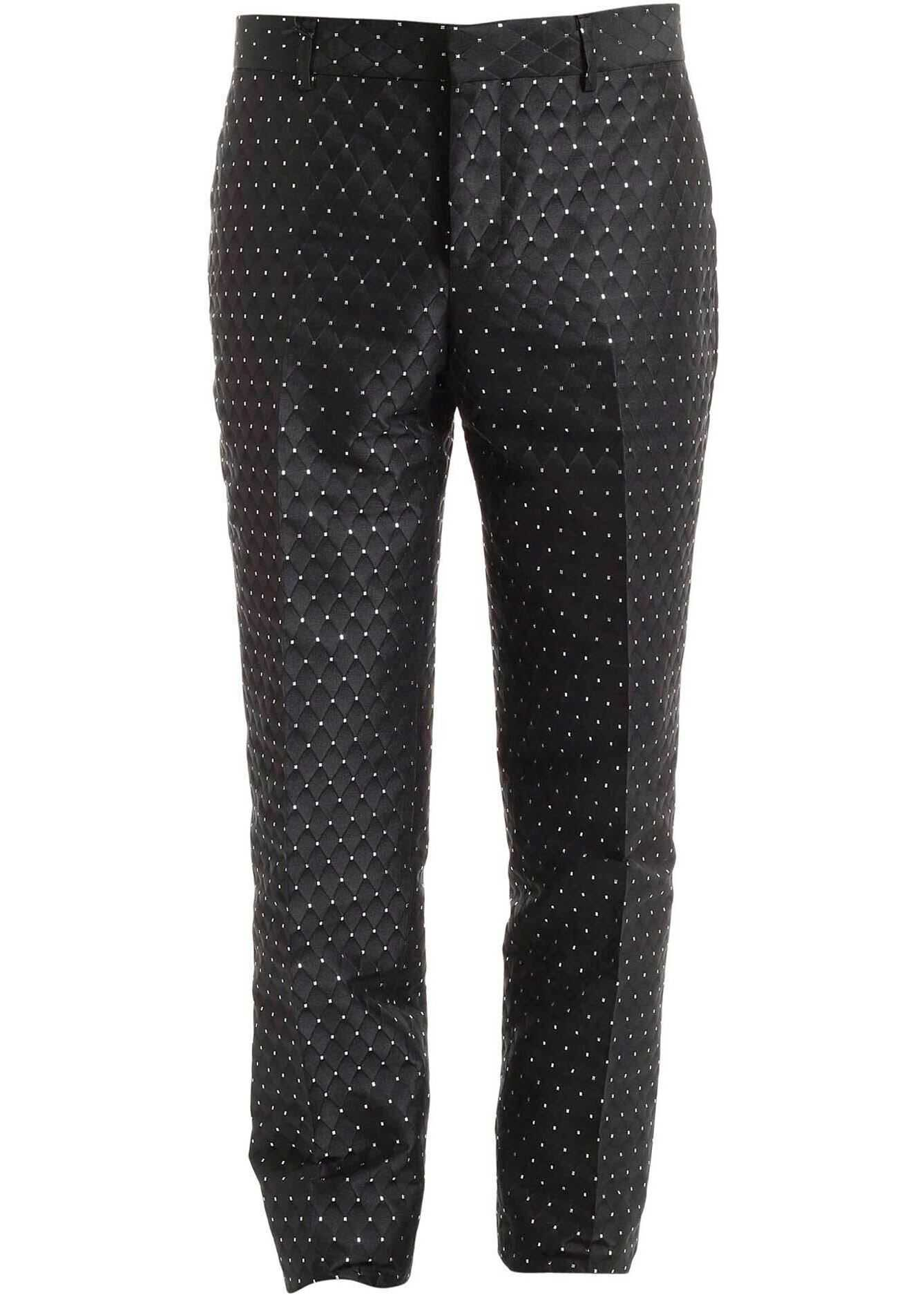 Moschino Black Jacquard Fabric Pants With Silver Details Black imagine