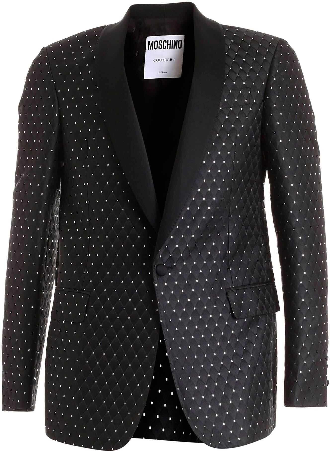 Moschino Jacquard Fabric Black Jacket Featuring Silver Details Black imagine