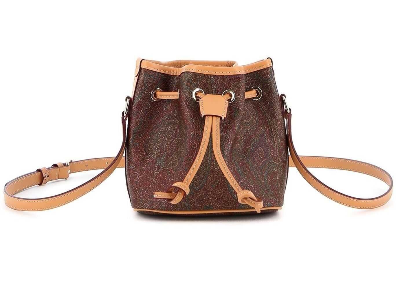 ETRO Book Paisley Classic Mini Bucket Bag In Brown 0H154 8010 600 Brown imagine b-mall.ro