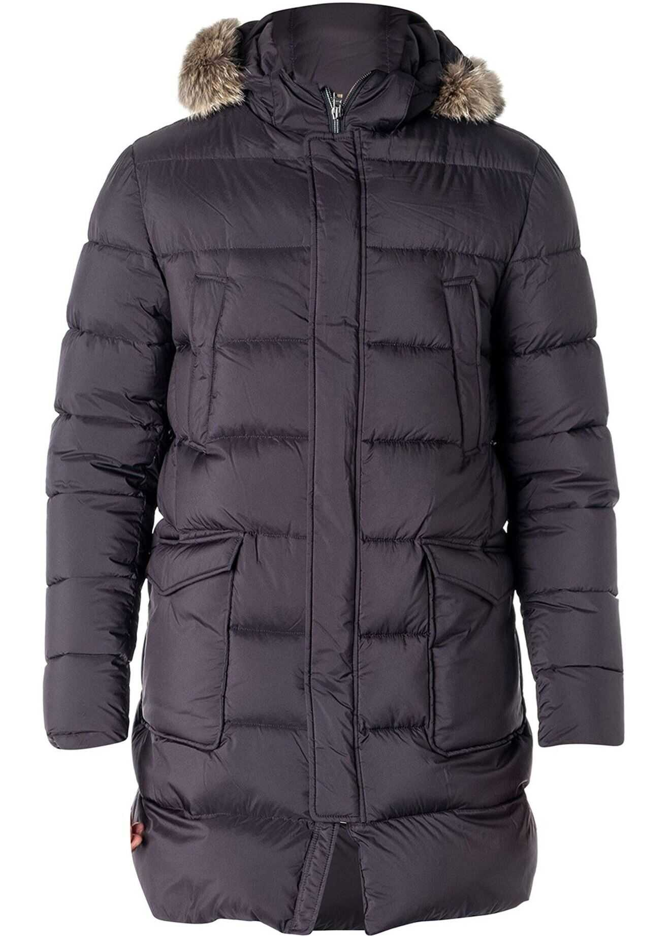 Herno Il Parka Navy Padded Coat In Blue Blue imagine