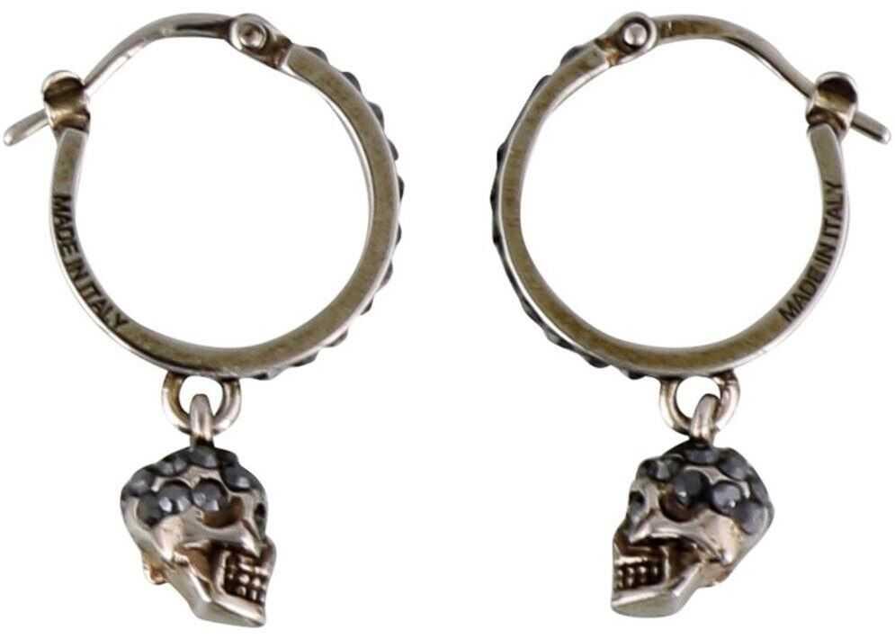Alexander McQueen Skull Crystal Embellished Earrings In Silver Color Silver