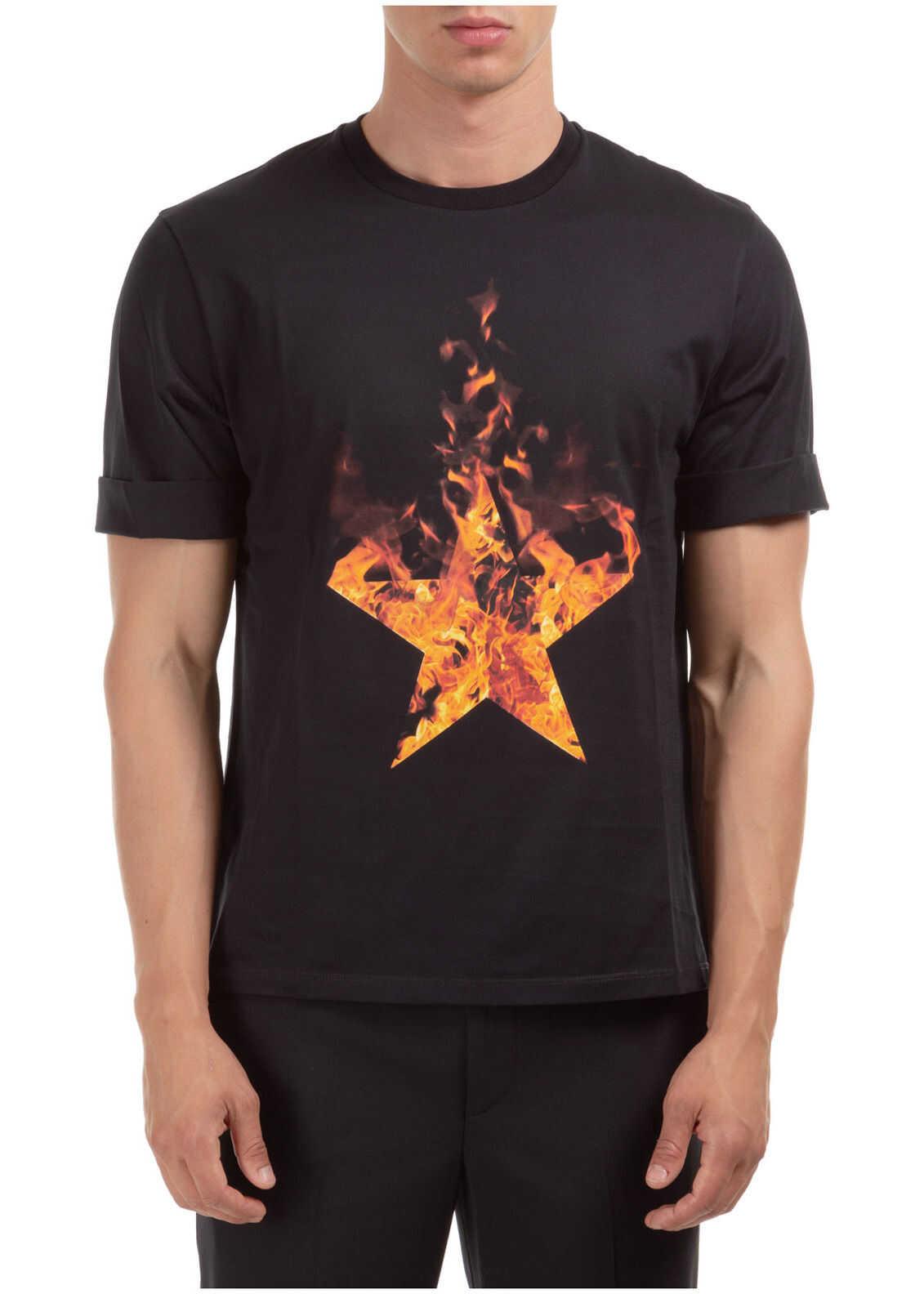Neil Barrett Short Sleeve T-Shirt Crew Neckline Jumper Firestars & Firebolts Black imagine