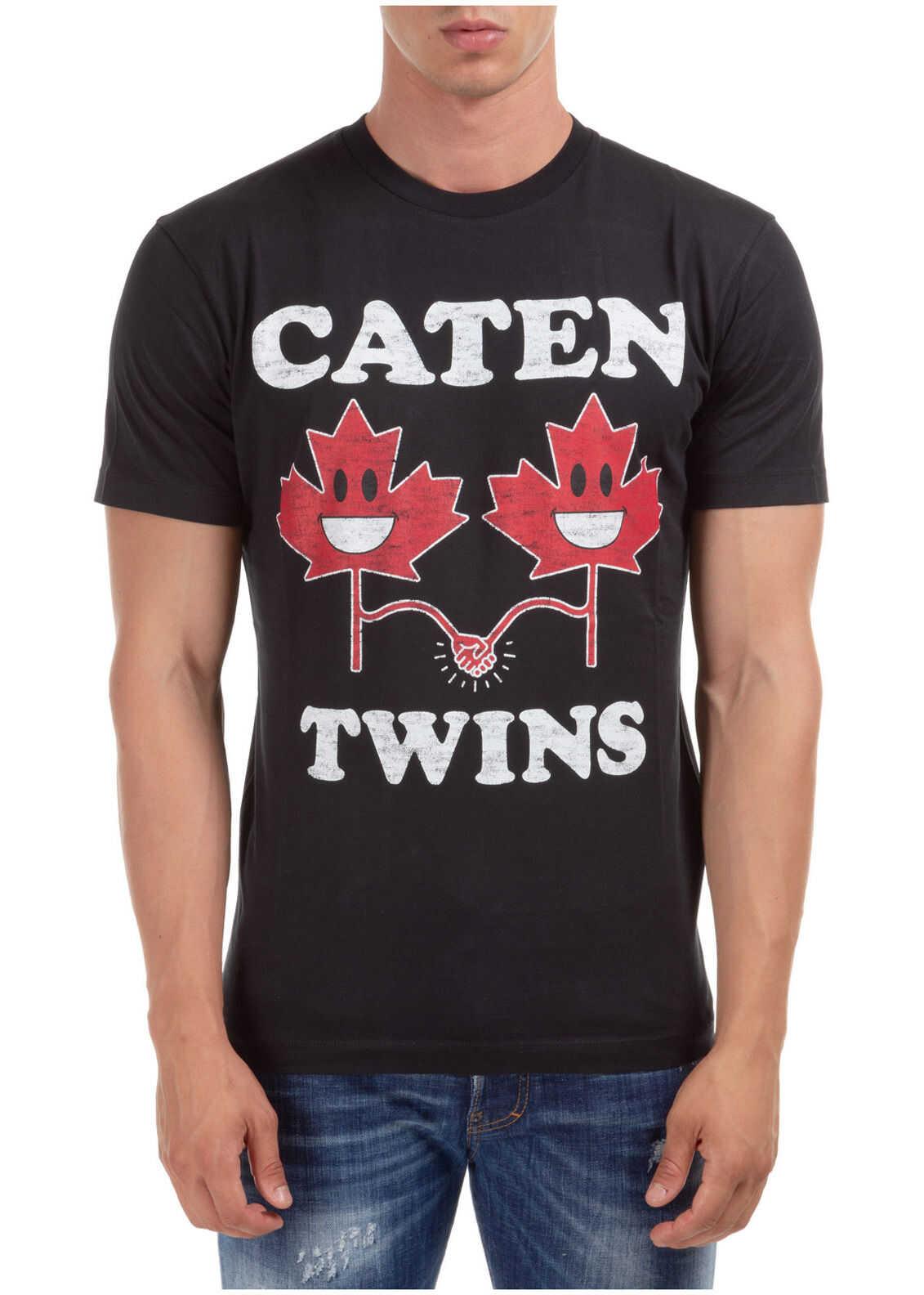 DSQUARED2 Short Sleeve T-Shirt Crew Neckline Jumper Caten'twins Black imagine
