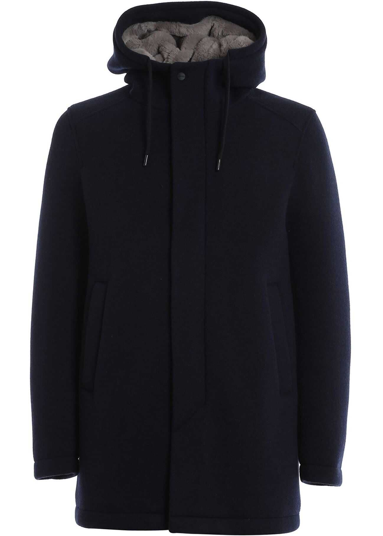 Herno Blue Padded Coat In Wool Blend Blue imagine