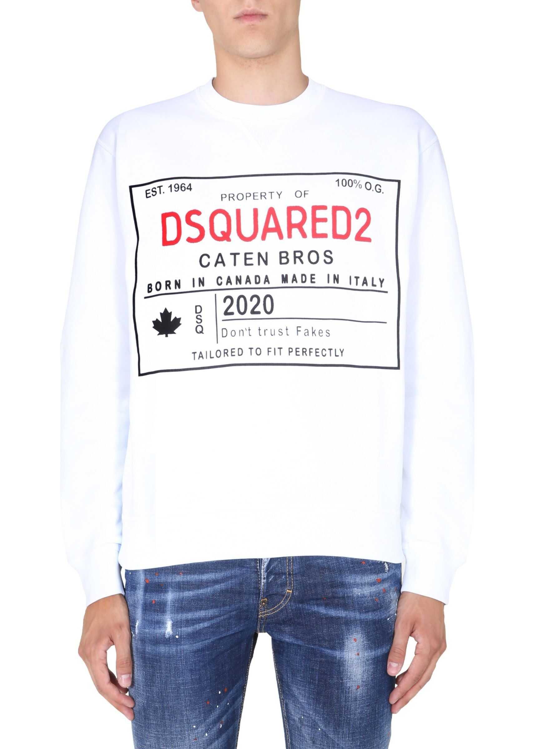 DSQUARED2 Crew Neck Sweatshirt WHITE imagine