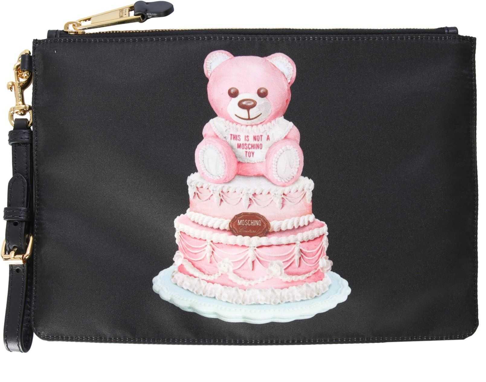 "Moschino ""Teddy Cake"" Pouch 84448213_1555 BLACK imagine b-mall.ro"