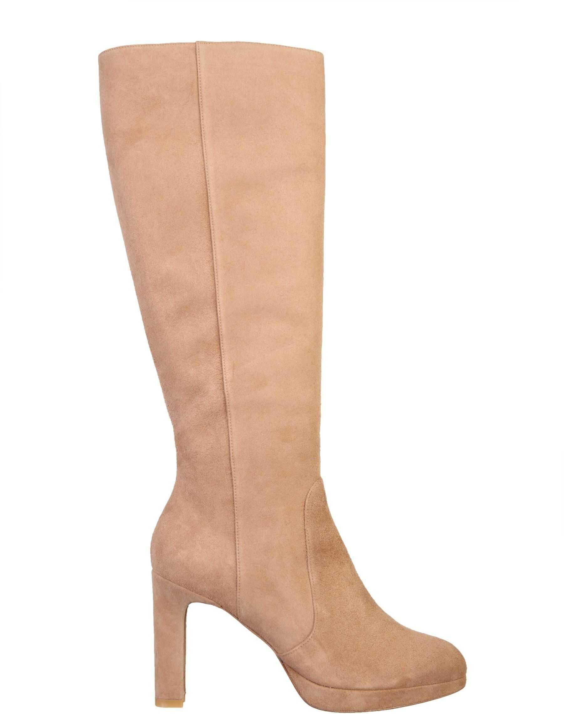 Stuart Weitzman Aleina Boots ALEINA_SUECAM BEIGE imagine b-mall.ro