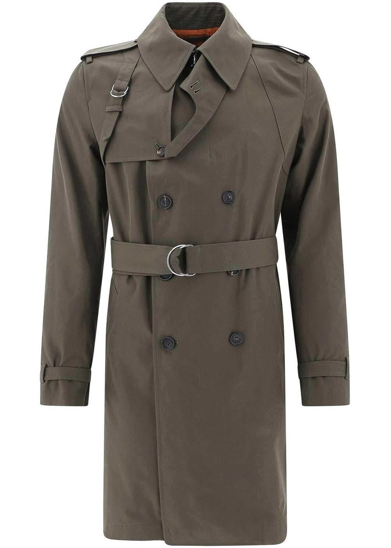 Alexander McQueen Cotton Trench Coat In Green Green imagine