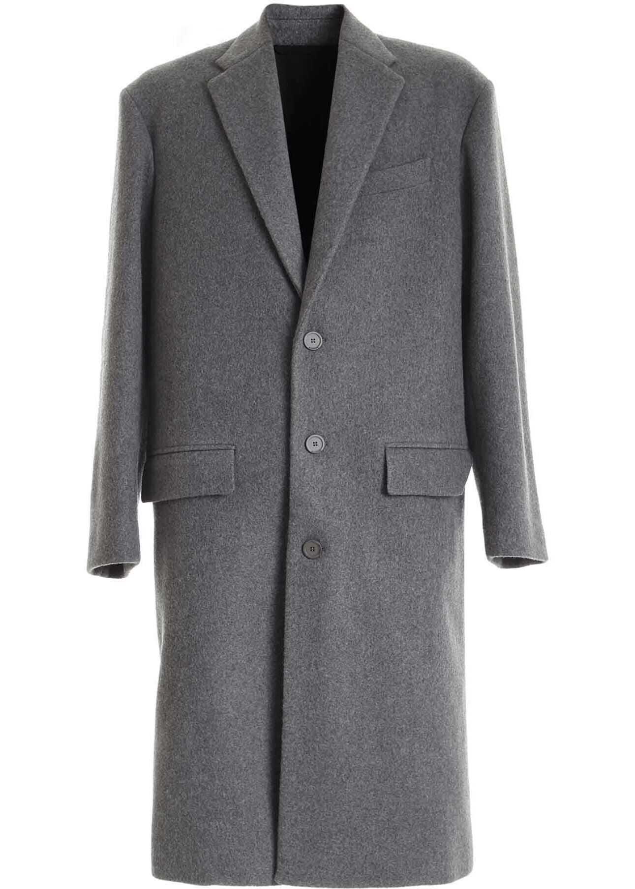 Balenciaga Oversize Fit Wool Coat In Melange Grey Black imagine