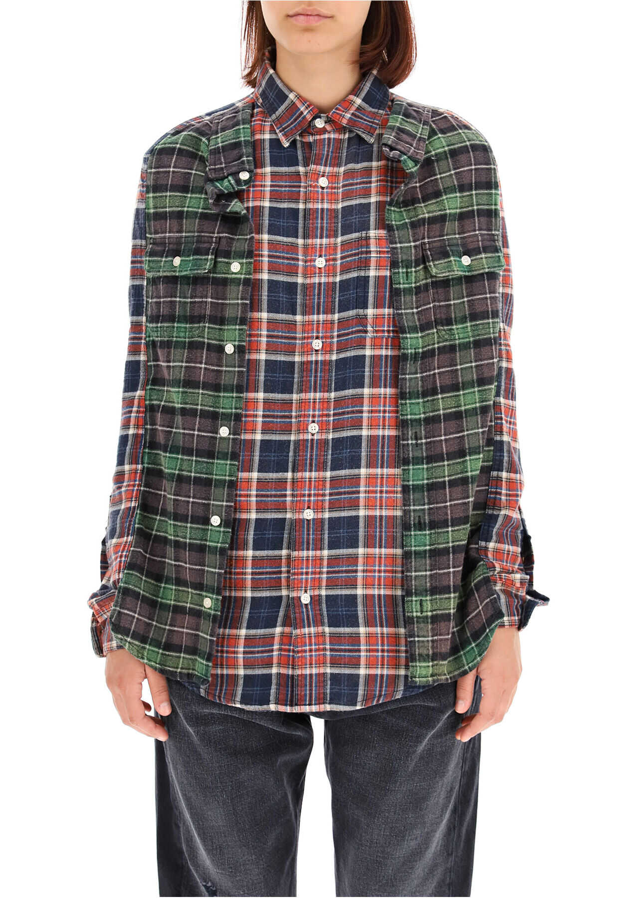 R13 Double Checkered Shirt R13W7625594 RED BLUE PLAID W GREEN image0