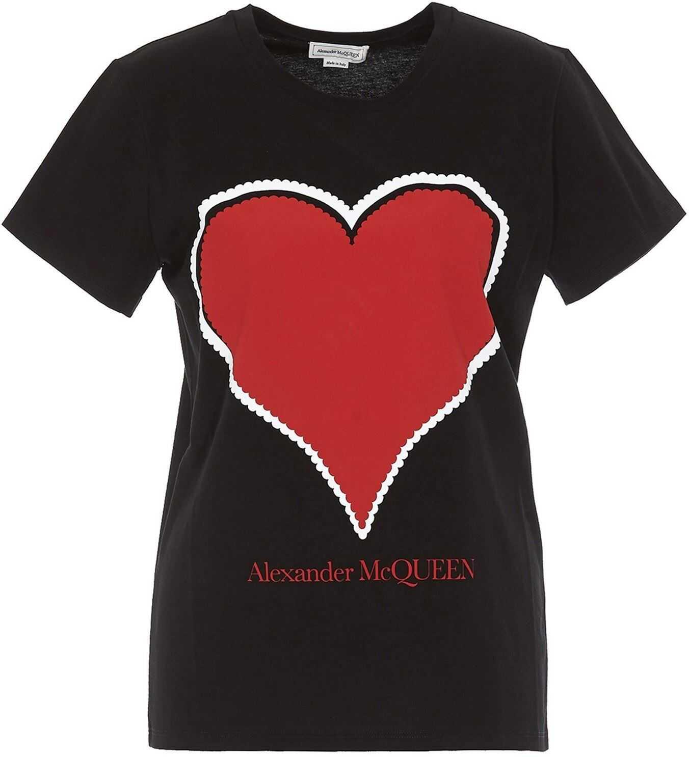 Alexander McQueen Maxi Heart T-Shirt In Black Black