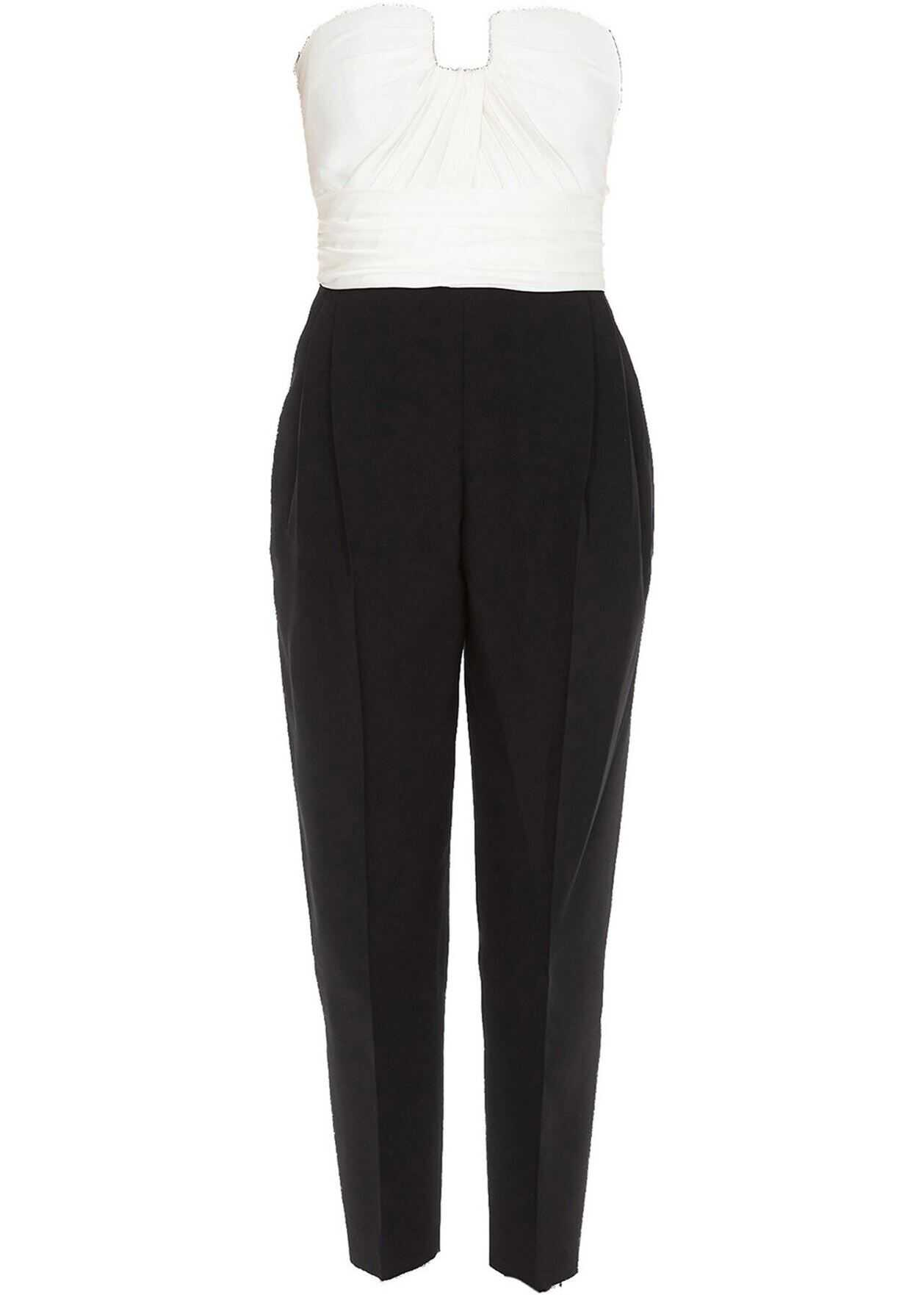 Alexander McQueen Wool And Silk Jumpsuit In Black And White Black