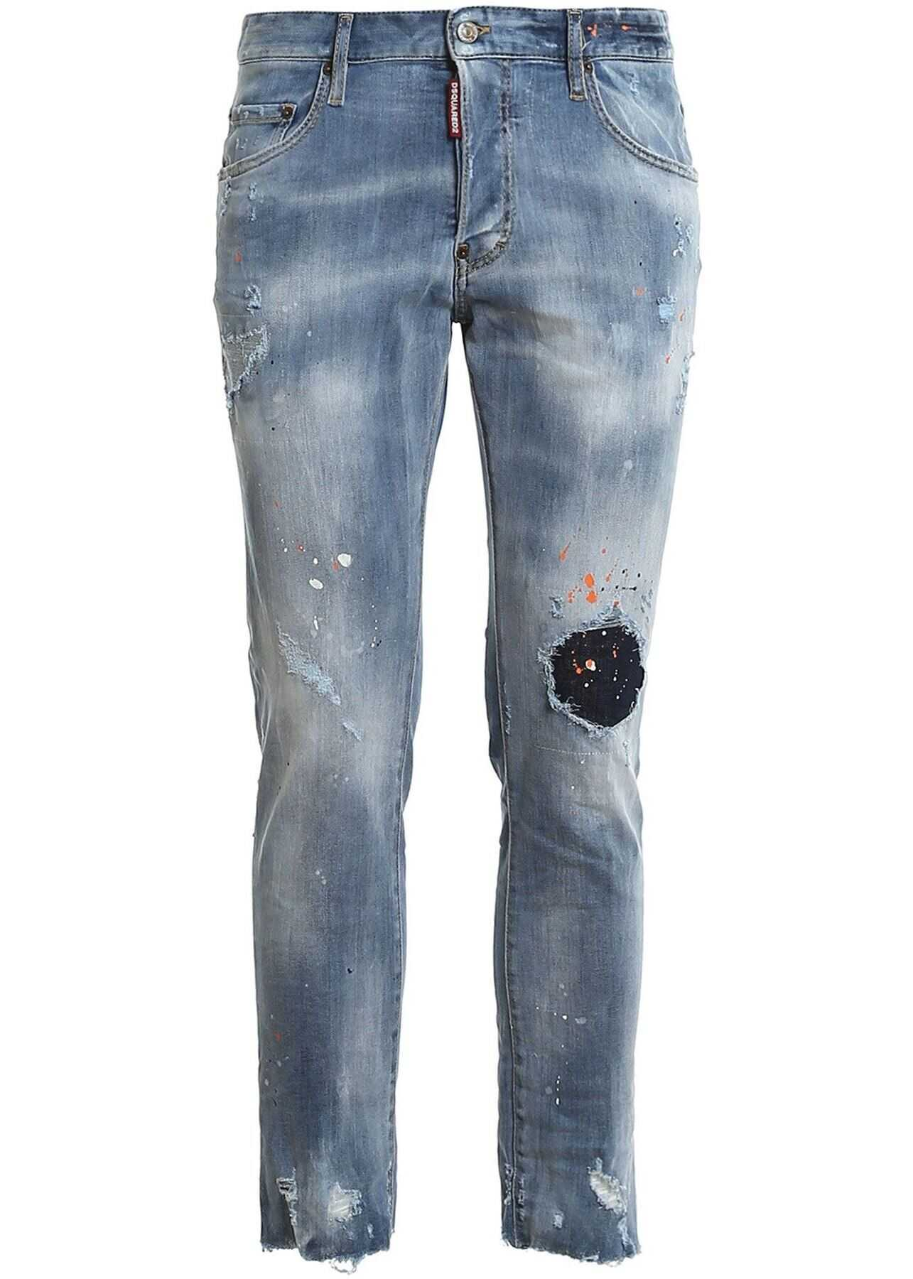 DSQUARED2 Skater Destroyed Effect Denim Jeans In Light Blue Light Blue imagine