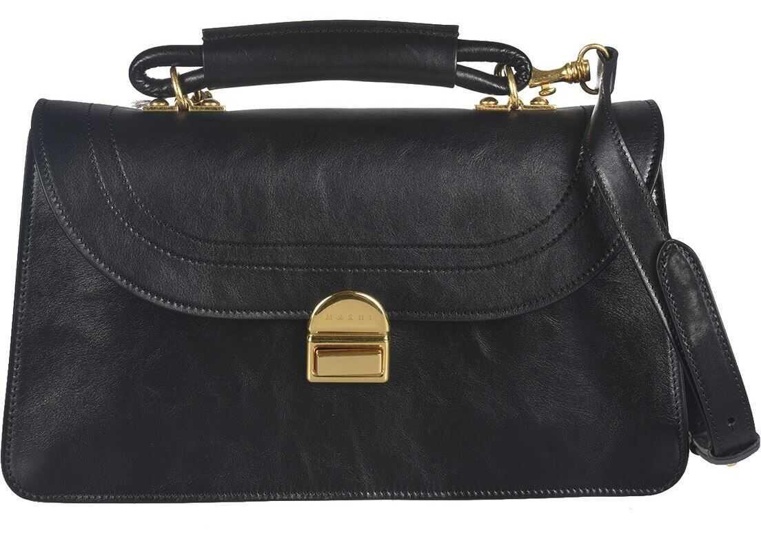 Marni Juliette Leather Bag In Black BMMP0044Y1 P3430 00N99 Black imagine b-mall.ro