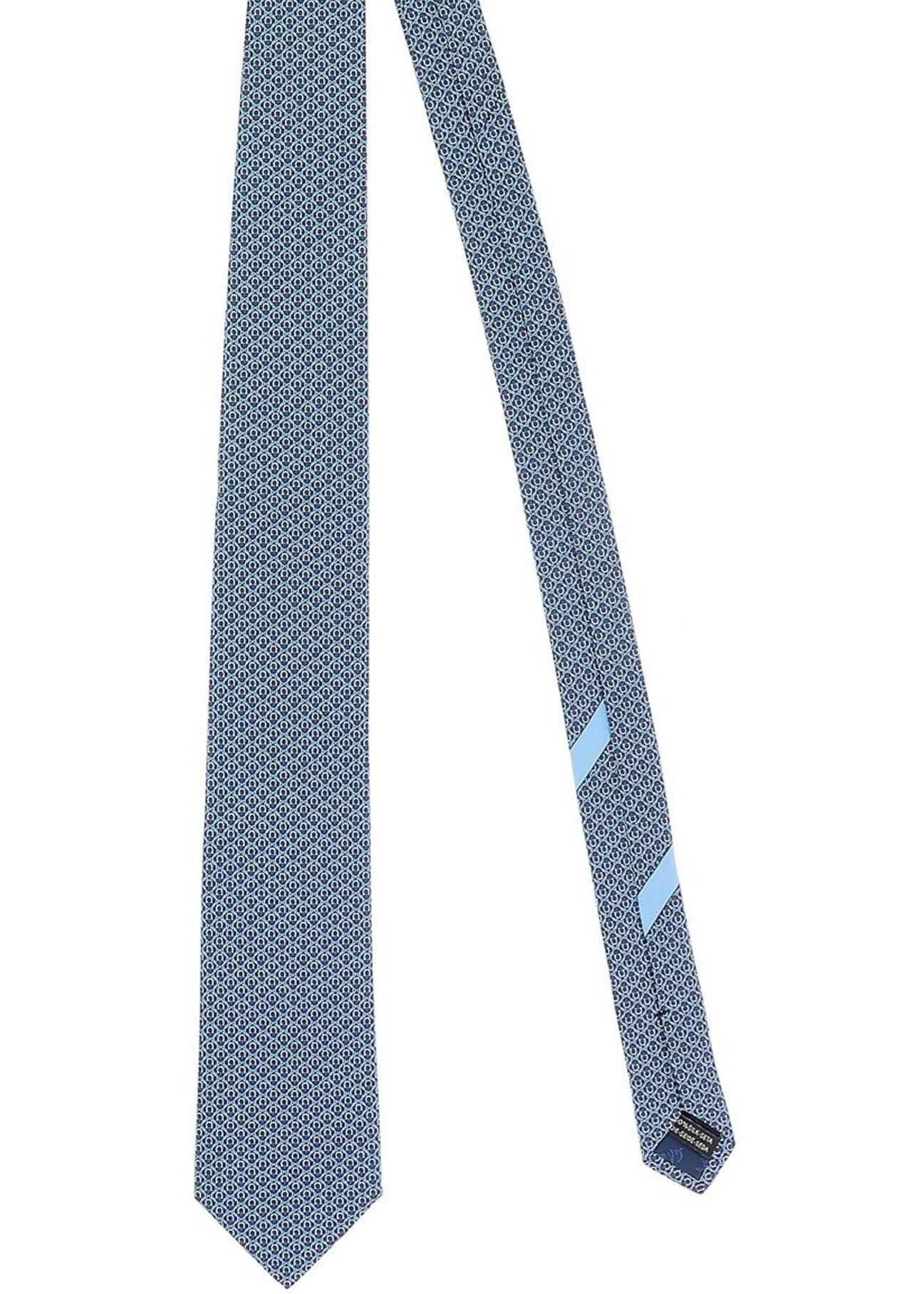 Salvatore Ferragamo Gancini Printed Tie In Blue Blue