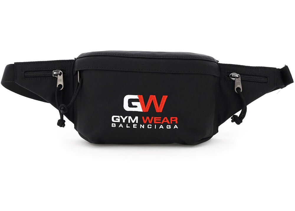 Balenciaga Weekend Beltpack With Gym Wear Embroidery 617128 H75WX BLACK imagine b-mall.ro