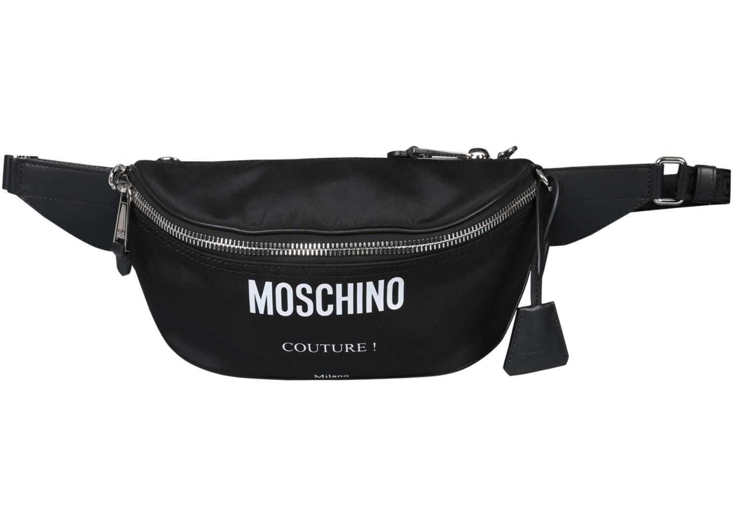 Moschino Belt Bag With Logo 77048201_2555 BLACK imagine b-mall.ro