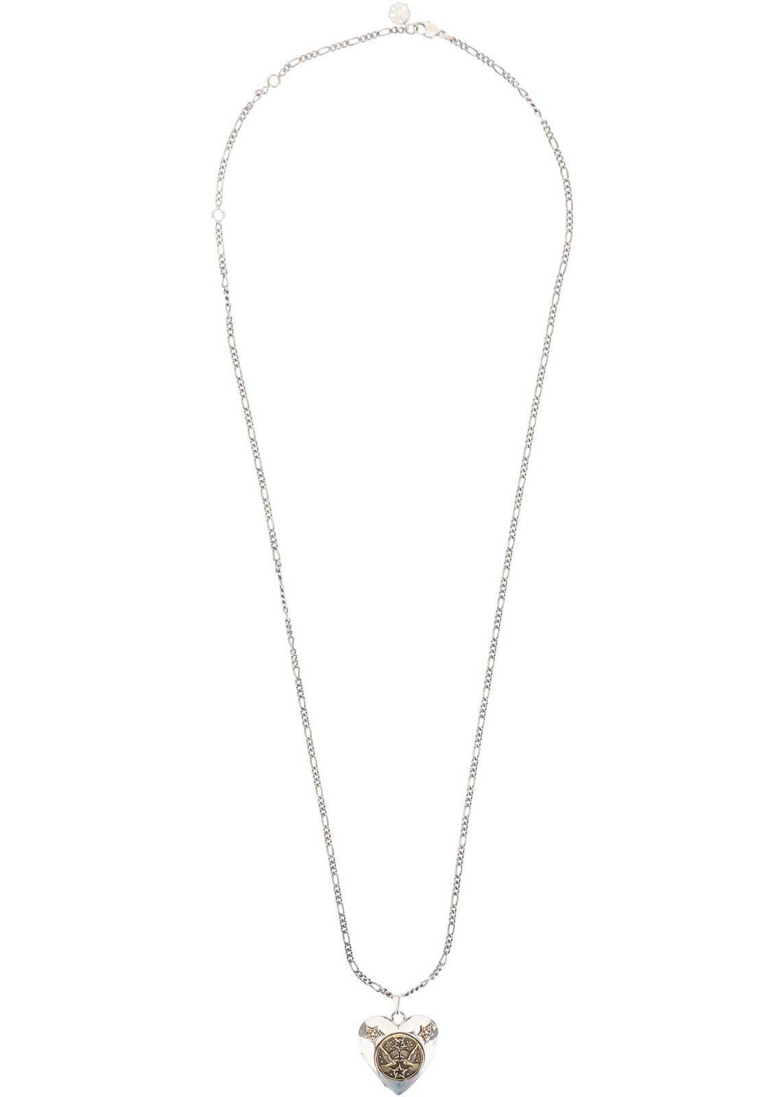 Alexander McQueen Long Necklace Heart With Emblem SILVER GOLD