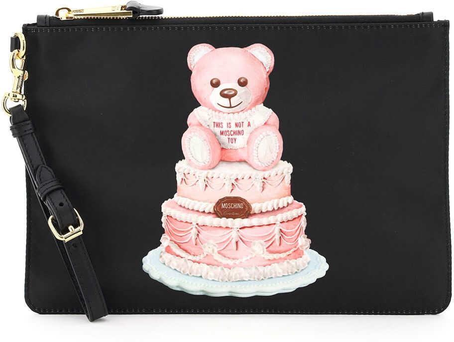 Moschino Pouch Cake Teddy Bear A8444 8213 NERO imagine b-mall.ro