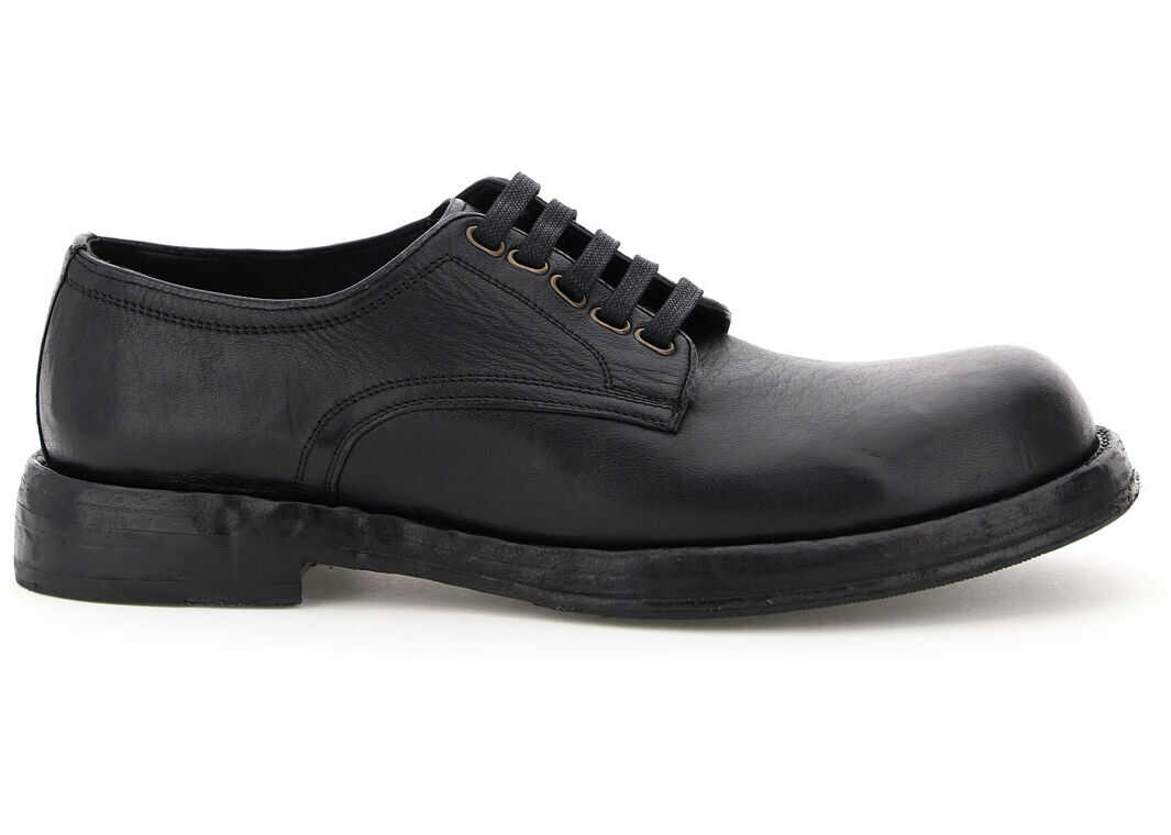 Dolce & Gabbana Derby Lace-Up Shoes A10638 AW765 NERO imagine b-mall.ro