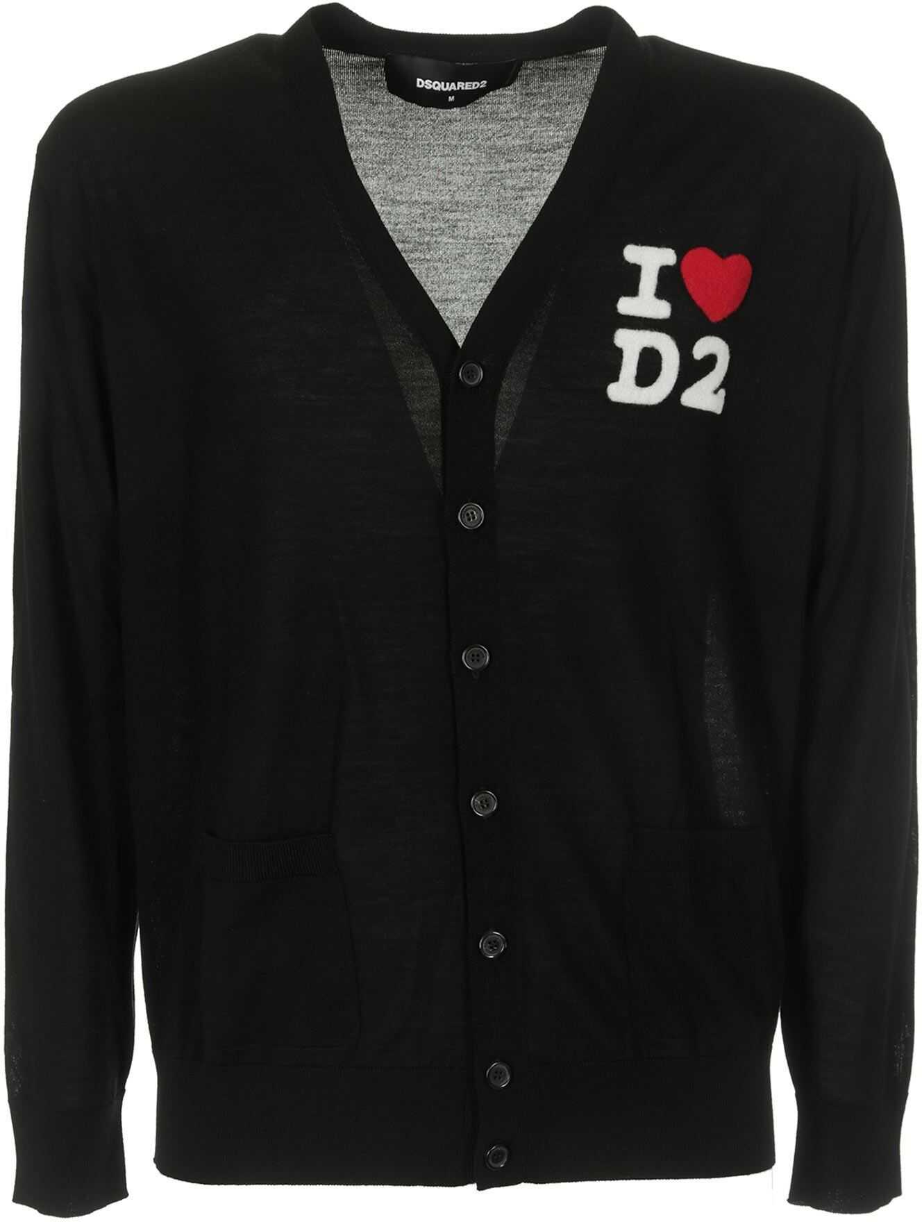 DSQUARED2 Wool Cardigan With Logo In Black Black imagine