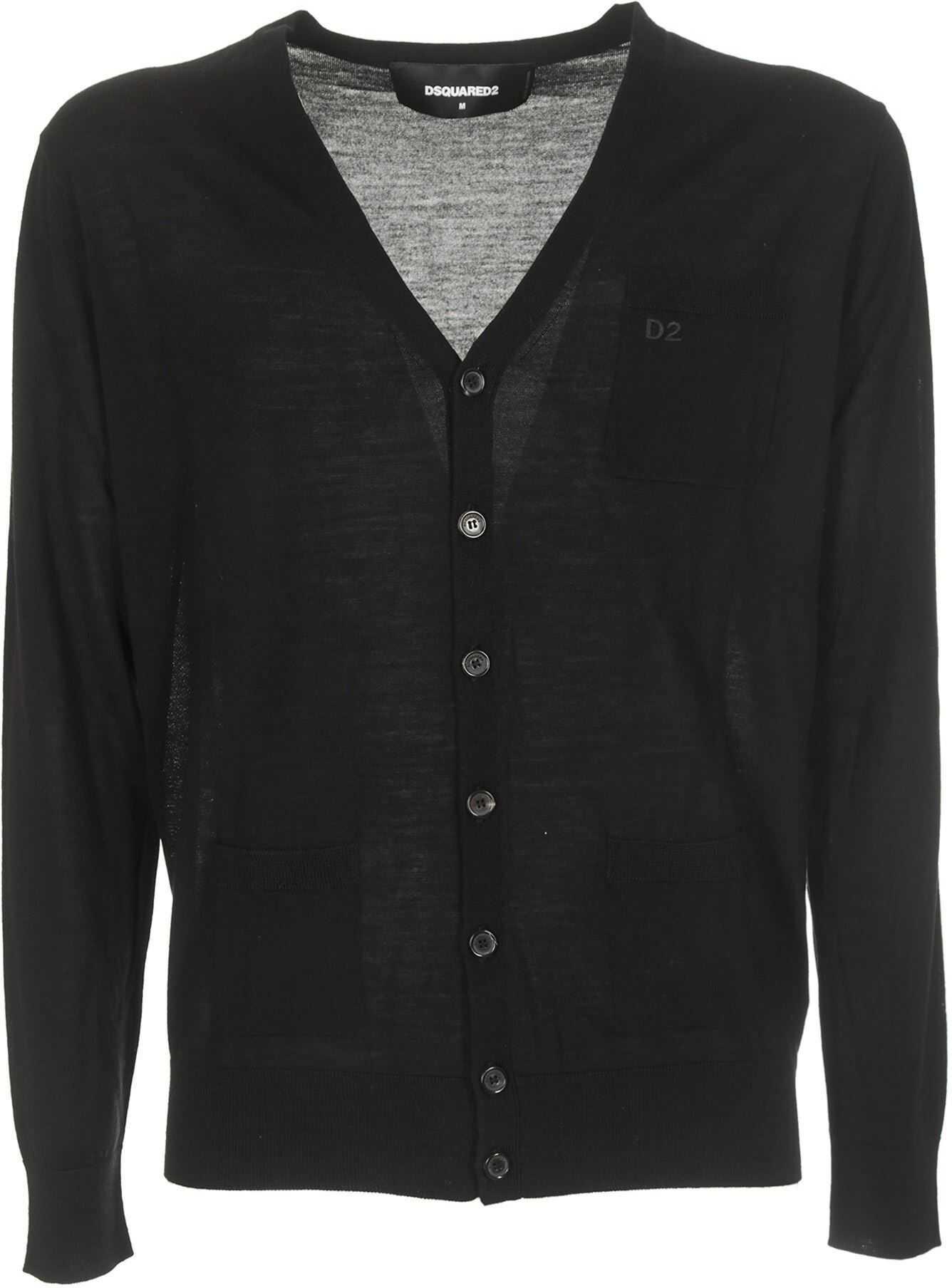 DSQUARED2 Wool Cardigan In Black Black imagine