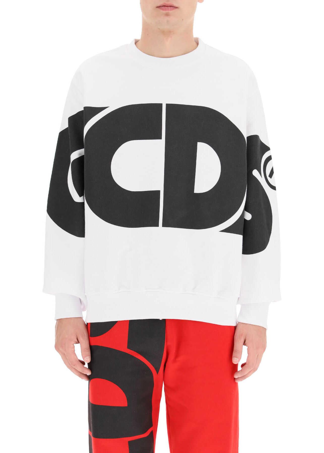 GCDS Round Tee Sweatshirt Maxi Logo WHITE imagine