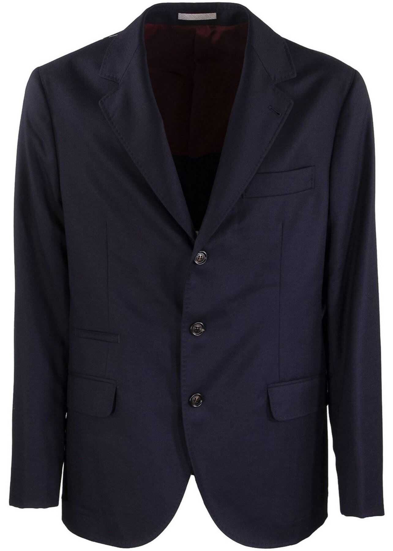 Brunello Cucinelli Single-Breasted Blue Wool Blazer Blue imagine