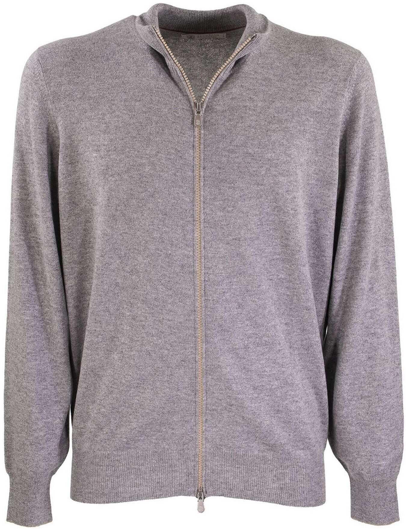 Brunello Cucinelli Grey Cashmere Cardigan With High Collar Grey imagine