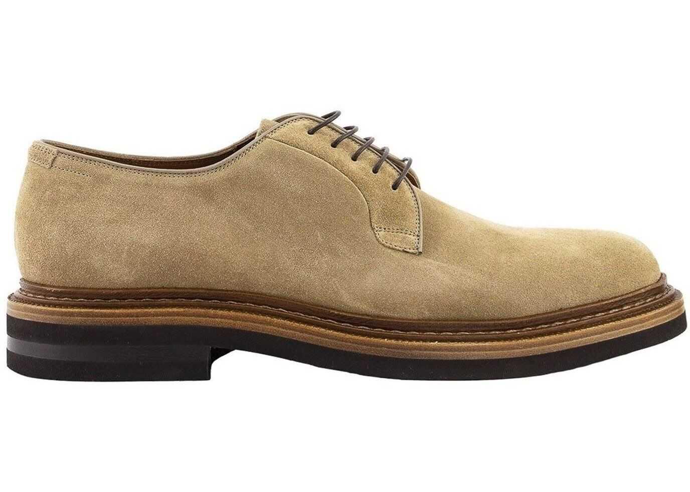 Brunello Cucinelli Oiled Leather Derby Shoes In Grey MZUNETK856 C6559 Beige imagine b-mall.ro