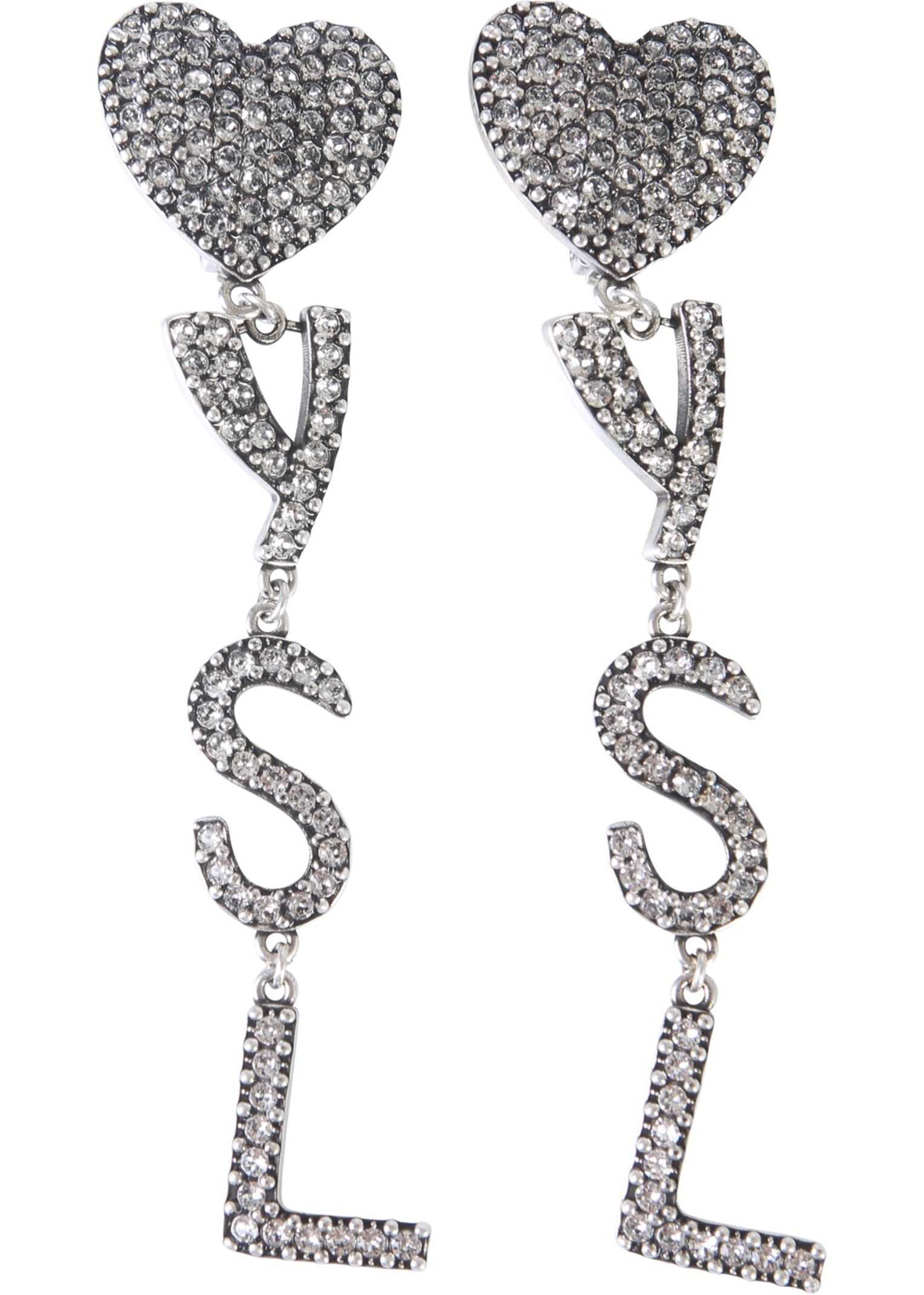 Saint Laurent Pendant Earrings With Hearts And Logo SILVER
