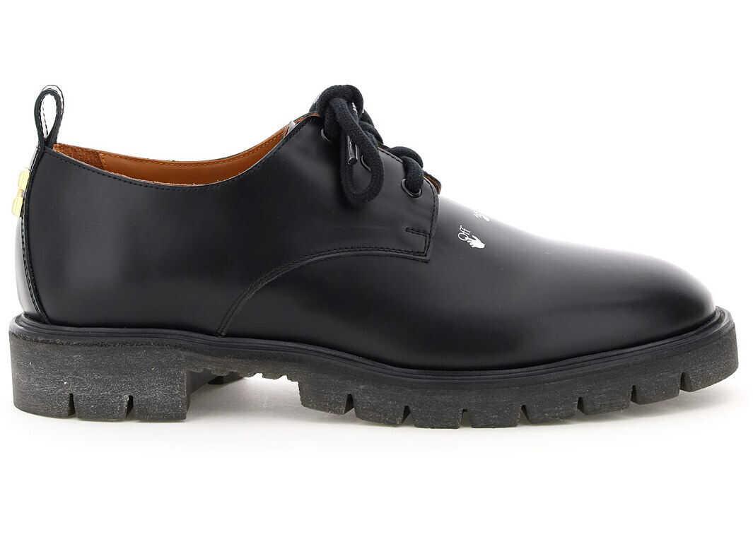 Off-White Cross Derby Shoes OMIA199F20LEA001 BLACK imagine b-mall.ro