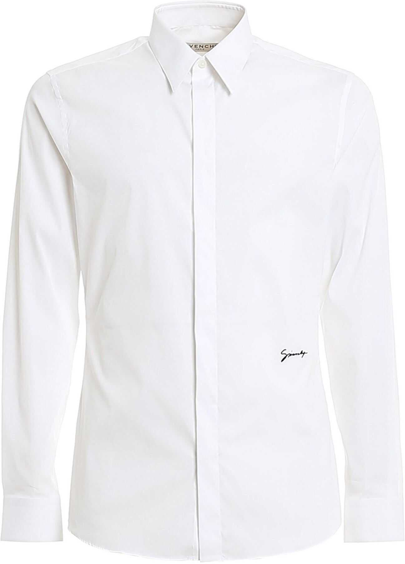 Givenchy White Cotton Blend Shirt With Logo Embroidery White imagine
