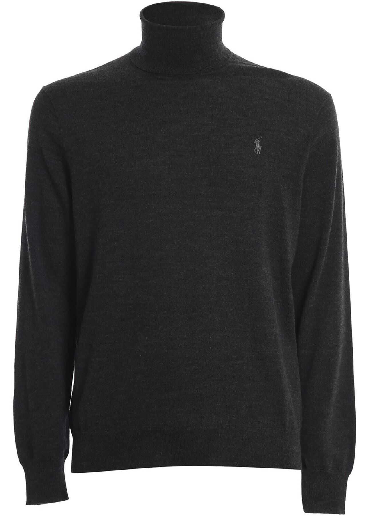 Ralph Lauren Merino Wool Black Turtleneck In Grey Grey imagine
