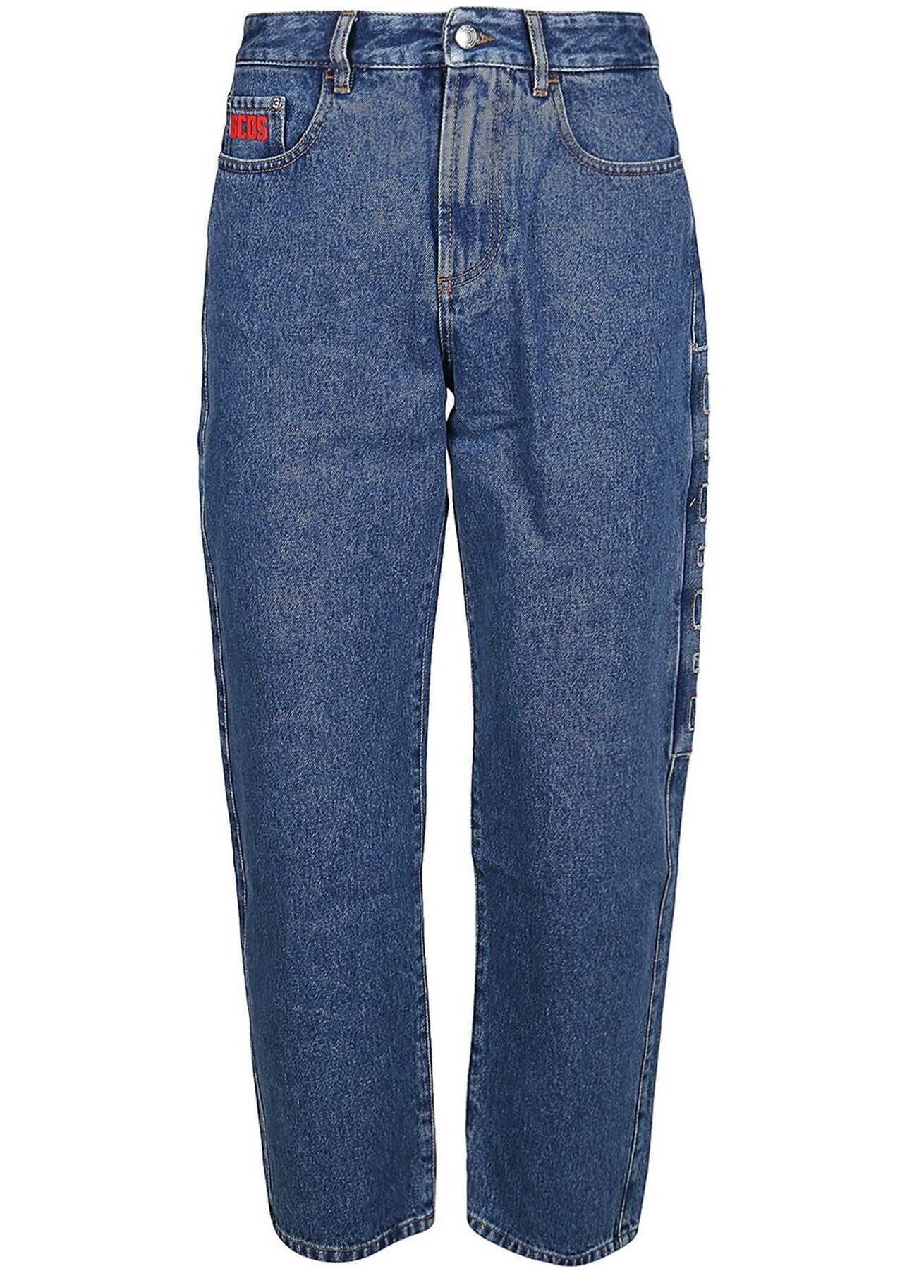 GCDS Logo Patch Boyfriend Jeans In Blue Blue imagine