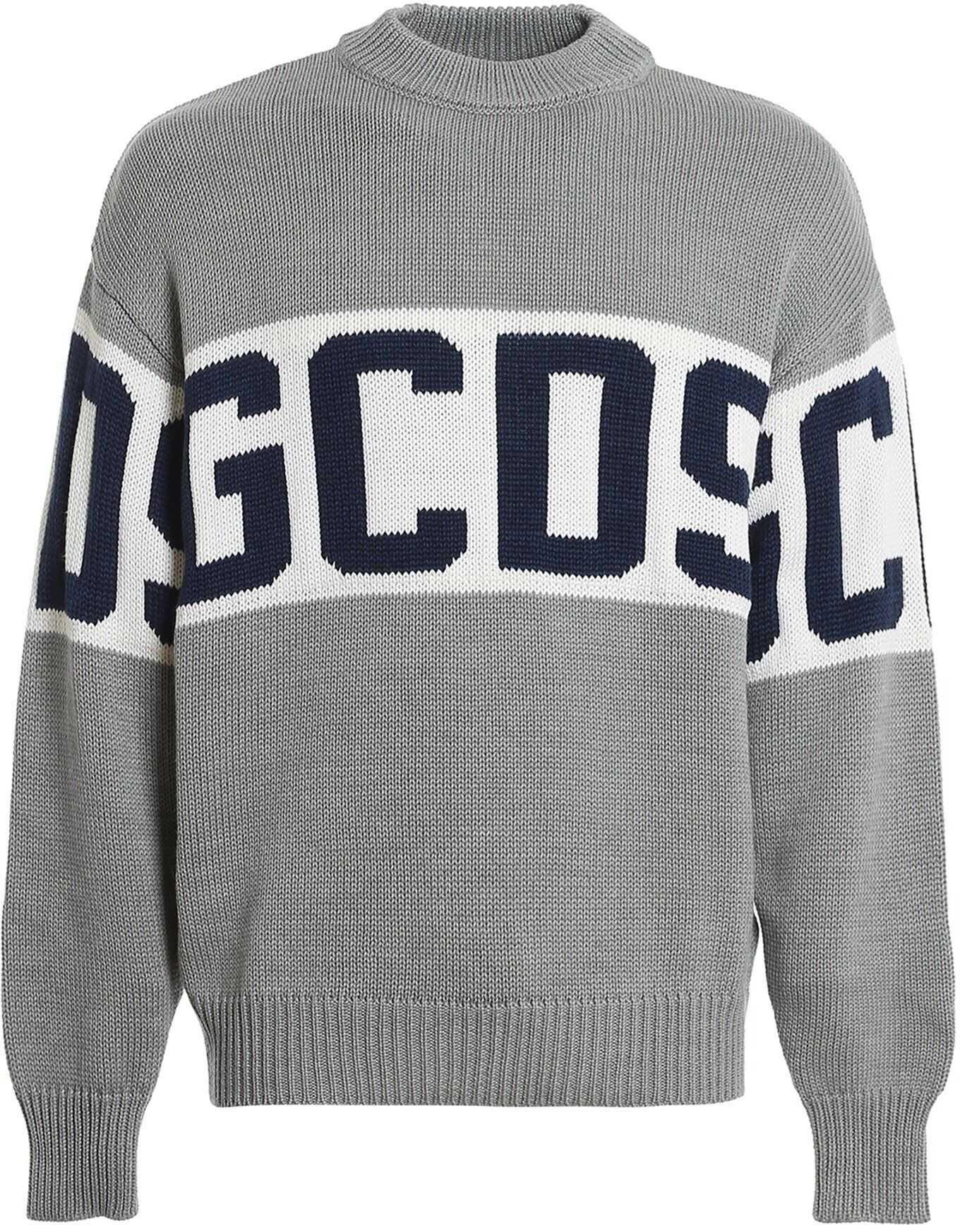 GCDS Wool Blend Sweater In Grey Grey imagine